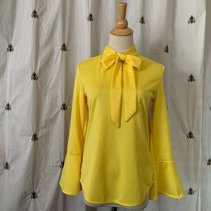 Lemon Yellow Blouse, Tie, Small, NWT, Diyun